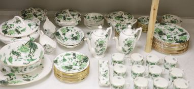 A Coalport Cathay peony pattern green dinner service for twelve settings