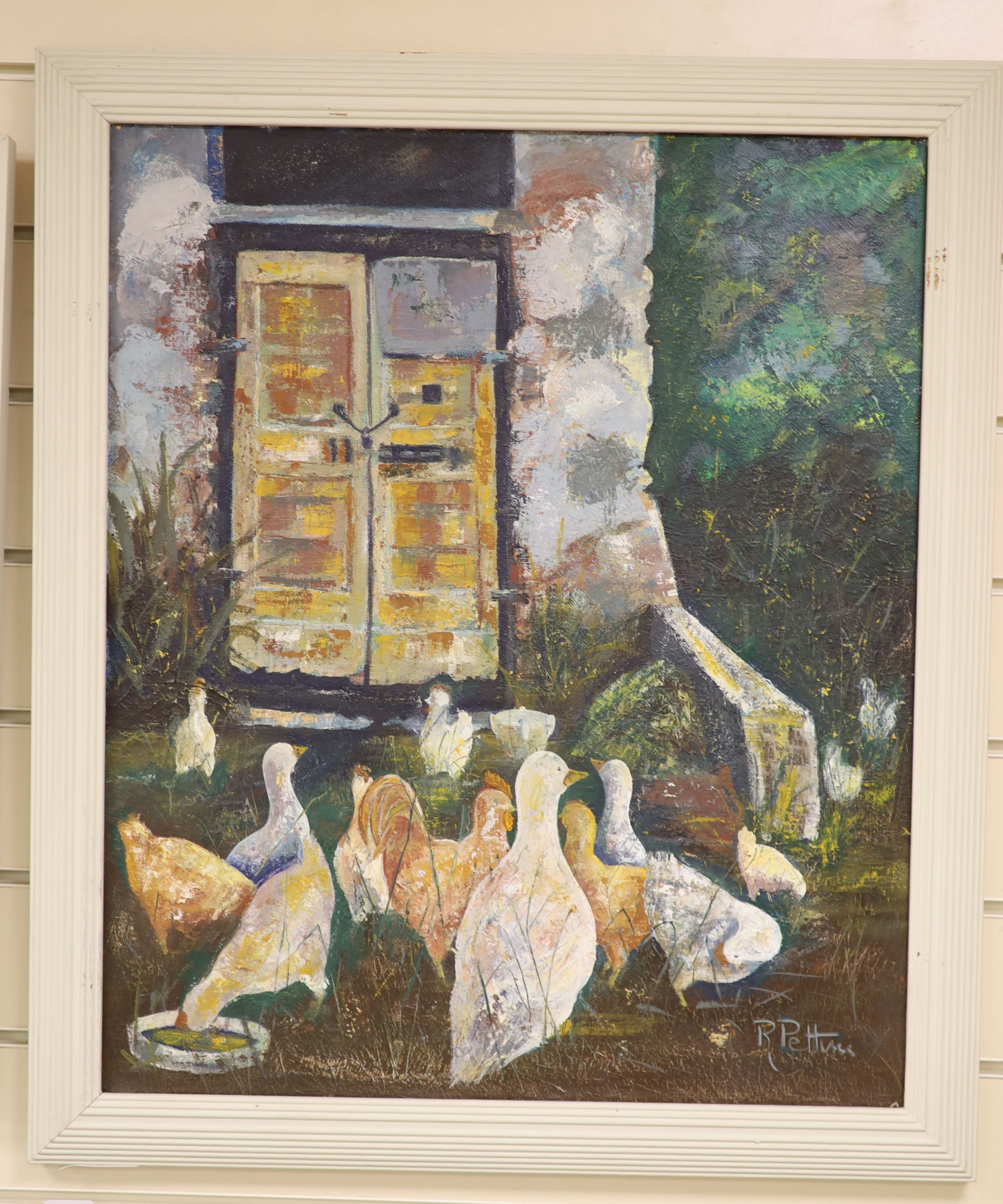 R. Pettini, oil on canvas, Poultry beside a church door, signed, 59 x 49cm - Image 2 of 3