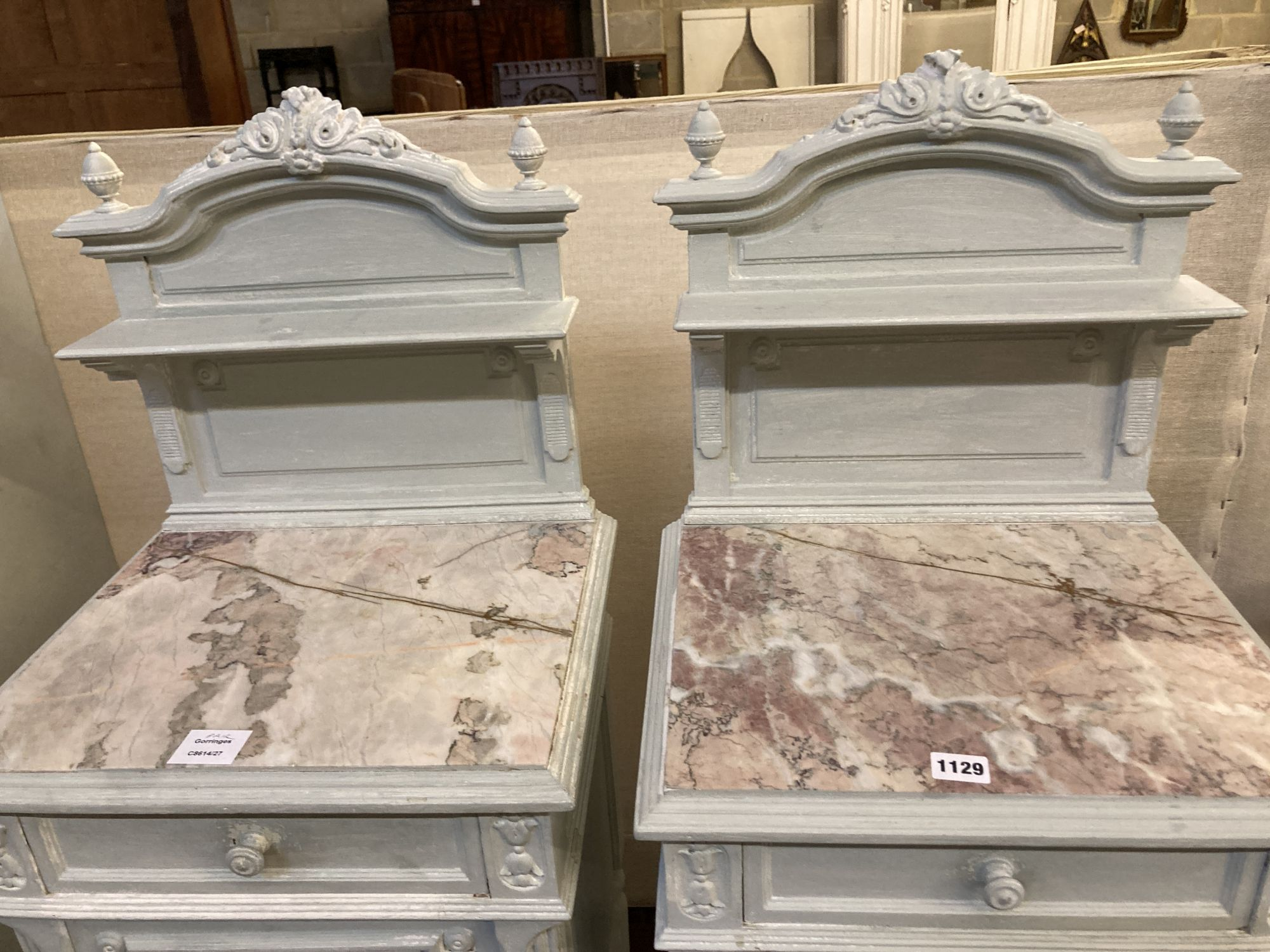 A pair of early 20th century French painted marble top bedside cabinets, width 41cm depth 35cm - Image 2 of 4