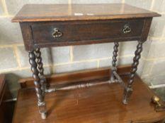 A 17th century style oak side table, width 76cm, depth 40cm, height 73cm
