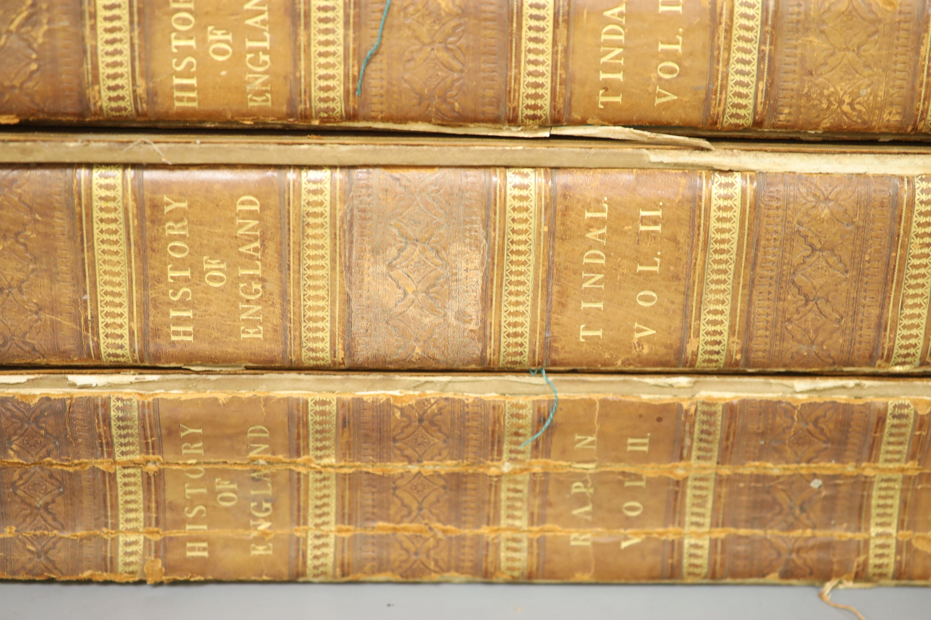 History of England, Tindal 4 vols, quarto, plates removed, boards detached - Image 3 of 5