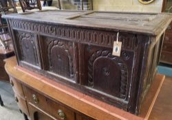 An 18th century and later panelled oak coffer, length 116cm, depth 50cm, height 45cm
