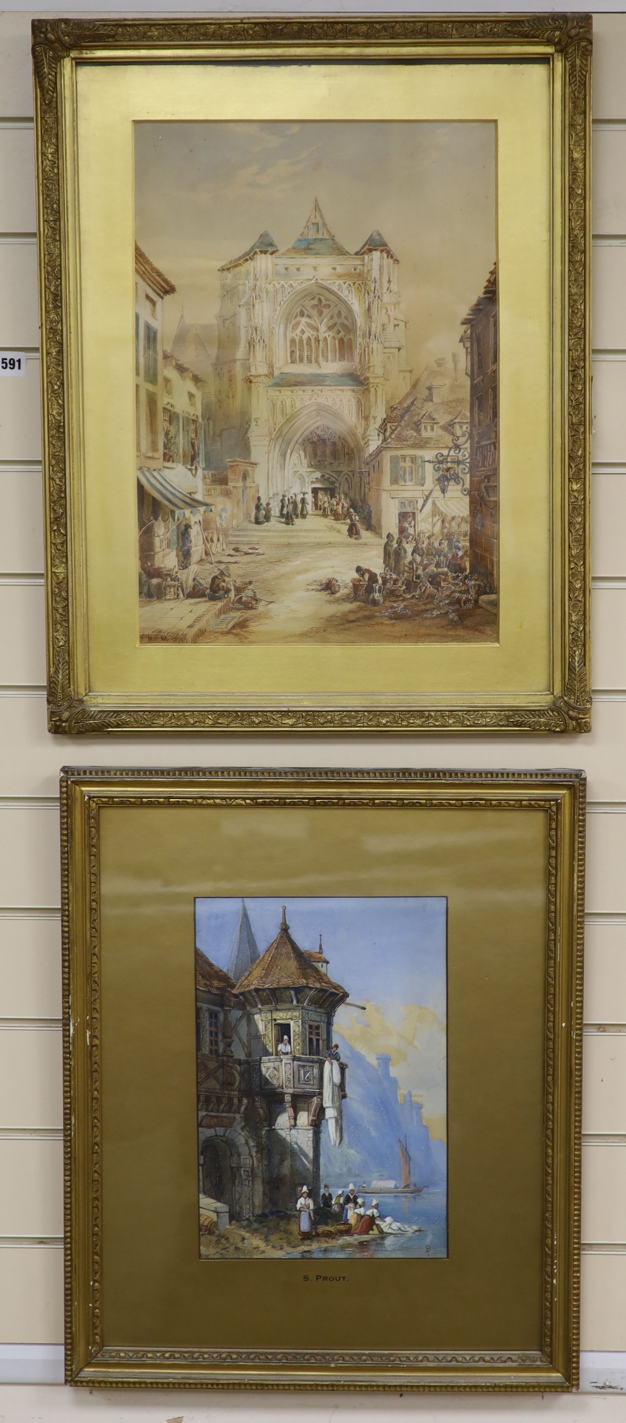 After Samuel Prout, watercolour, Lakeside houses, bears monogram, 33 x 22cm, and a watercolour of