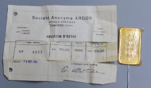 A Swiss Argor S.A. Chiasso '1000' yellow metal ingot, numbered 4577, weighing 50 grams, with