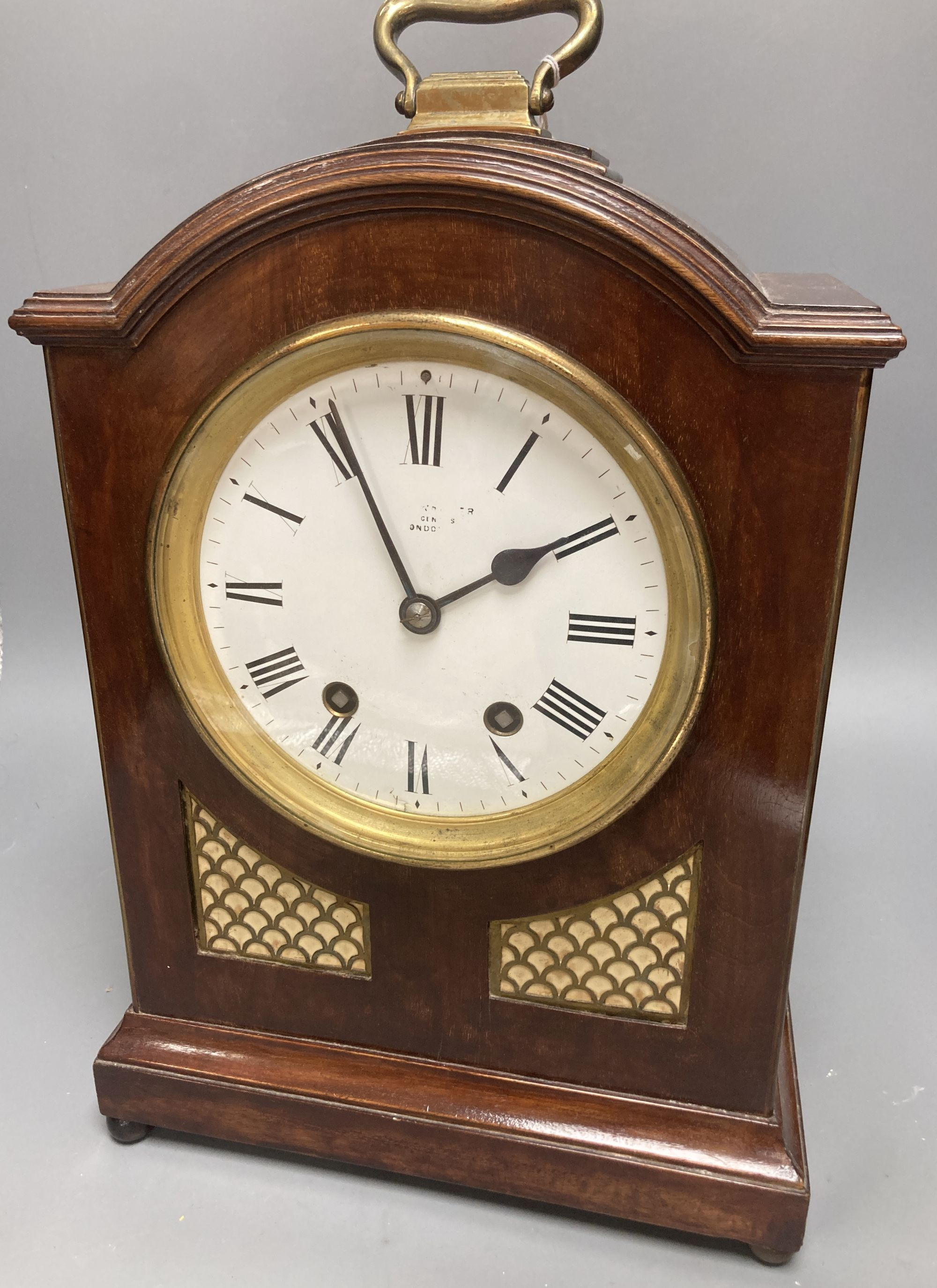 A German 19th century chiming bracket clock, in George III style, with brass grills, height 40cm