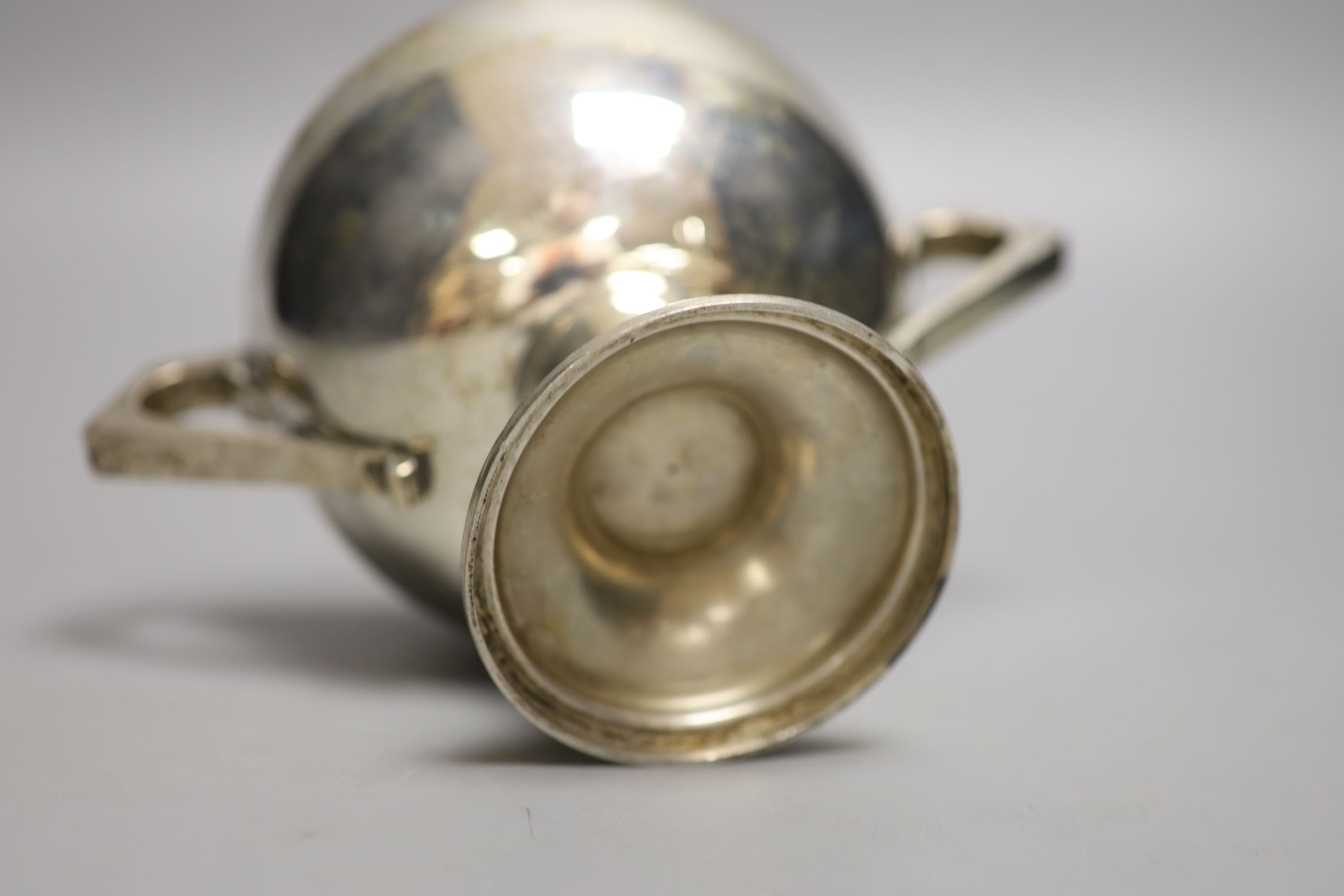 An Anglo-Indian silver two-handled pedestal rose bowl, marked C & K (Cooke & Kelvey), snake and SIL, - Image 3 of 3
