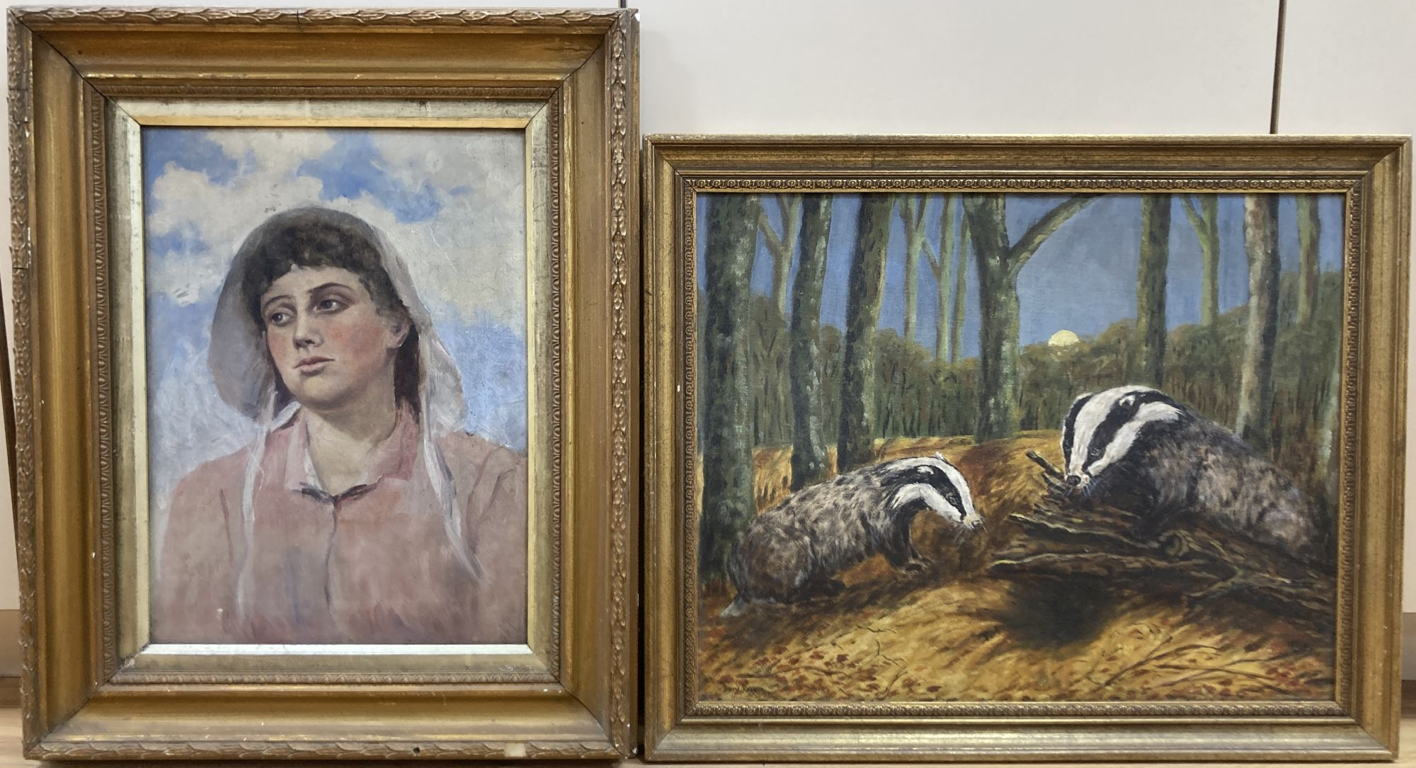 Early 20th century English School, oil on canvas, Portrait of a young woman, indistinctly signed