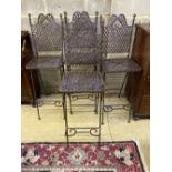 A set of four metal folding garden bar chairs, width 39cm, depth 38cm, height 120cm
