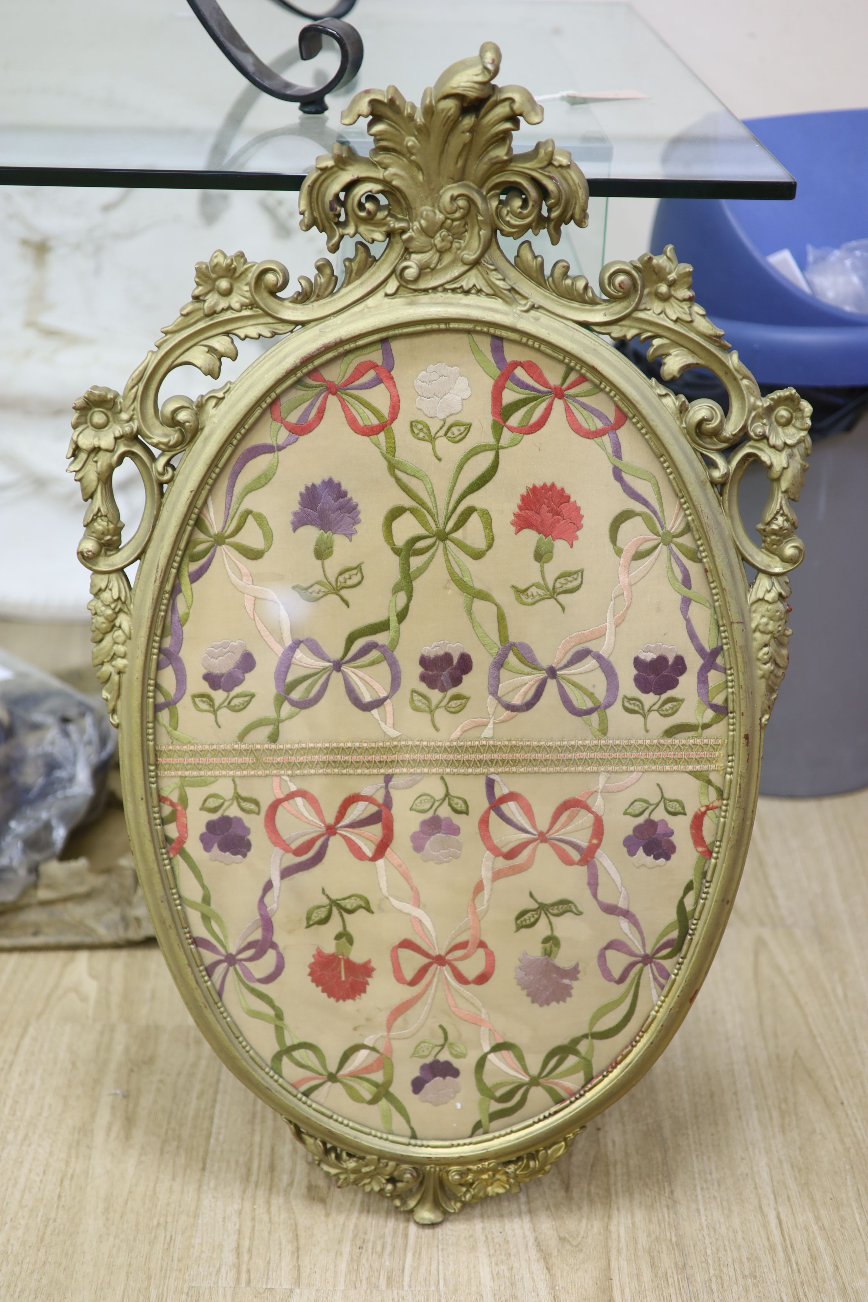 An oval needlework panel and another, largest 39 x 59cm - Image 3 of 4