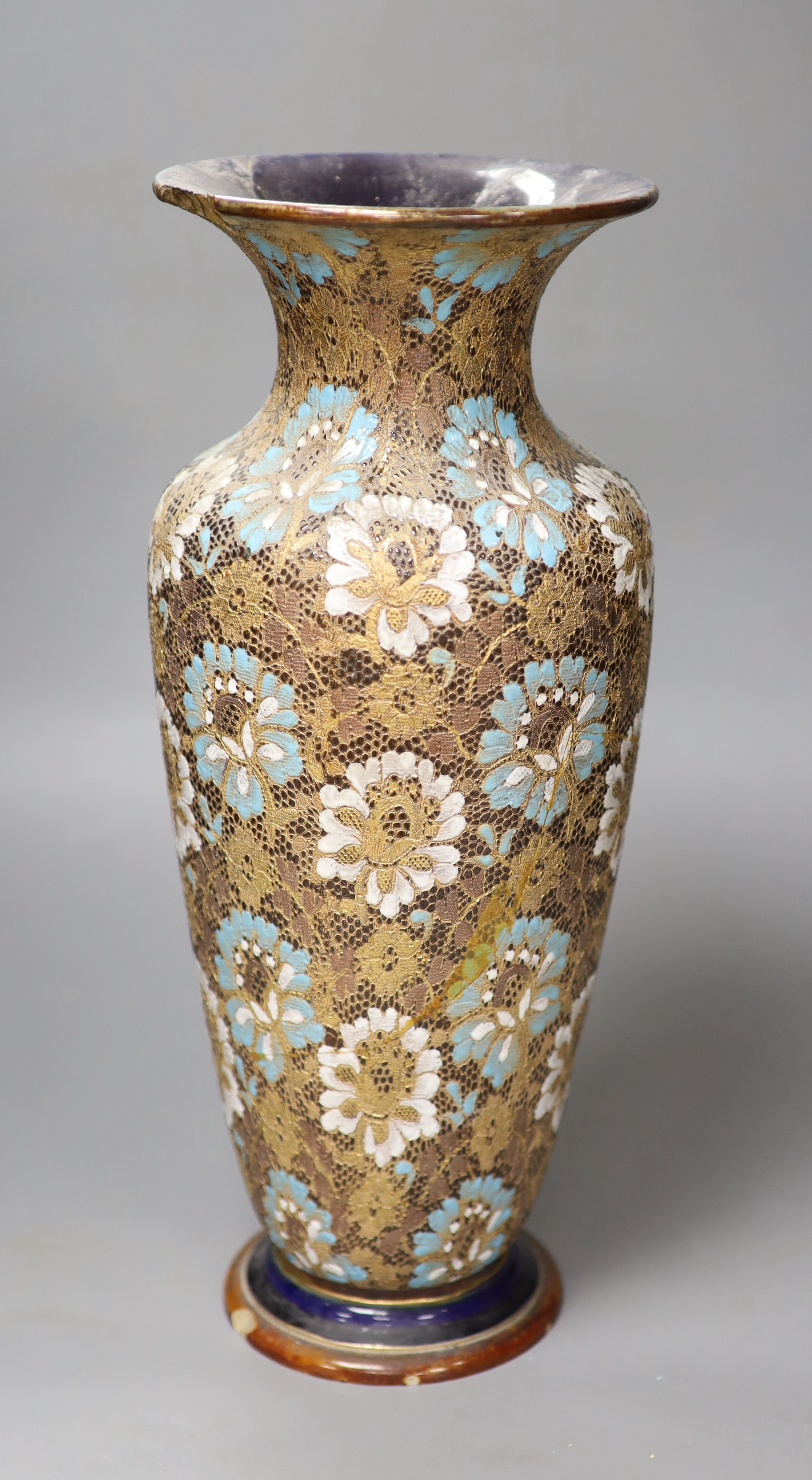 A large Doulton Slater's Patent vase, height 40cm (a.f.)