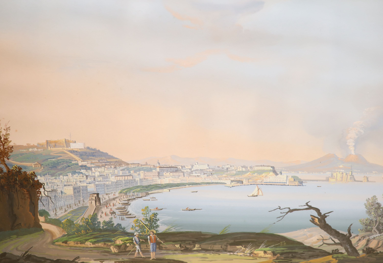 Neapolitan School, gouache, View of the Bay of Naples, bears Thos. Rowbotham signature, 29 x 43cm