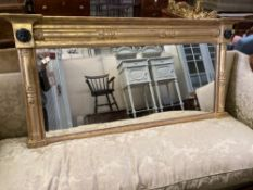 A William IV giltwood and gesso overmantel mirror, width 134cm height 64cm