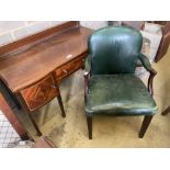 An Edwardian mahogany and satinwood banded shaped front dressing table, width 120cm, depth 58cm,