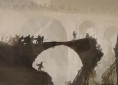 Yoshijiro Urushibara after Frank Brangwyn, wood engraving, 'Devils Bridge, St Gotthard's Pass' c.
