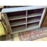 A small pine blue painted open bookcase, width 120cm depth 24cm height 83cm