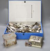 A large quantity of silver plated cutlery etc