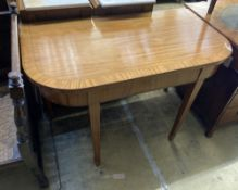 A Sheraton revival D end dining table, width 106cm, depth 60cm, height 75cm