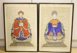 Chinese School, pair of watercolours on silk, Ancestor portraits, 55 x 37cm