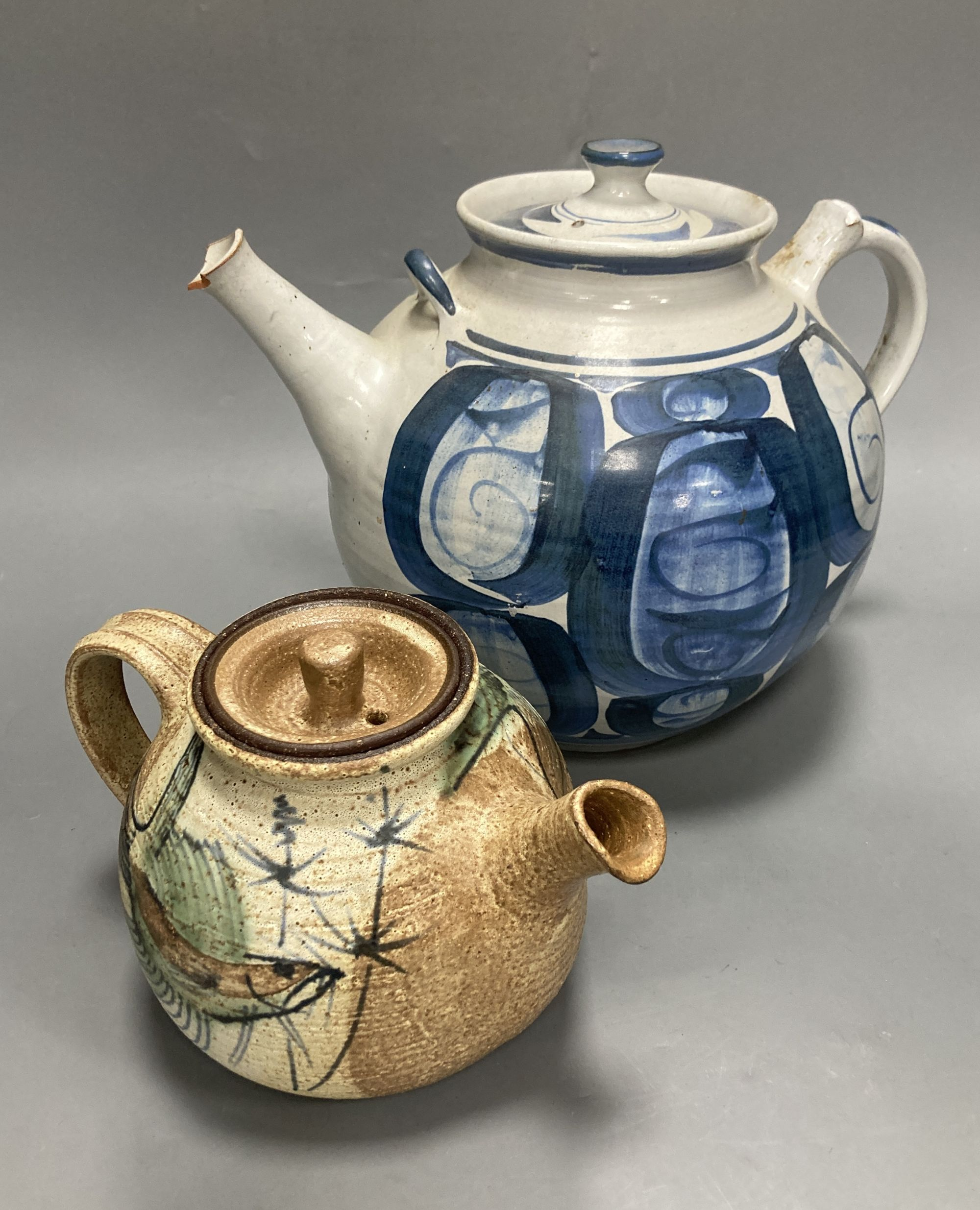Two Studio pottery teapots, largest 25cm