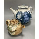 Two Studio pottery teapots, largest 25cm