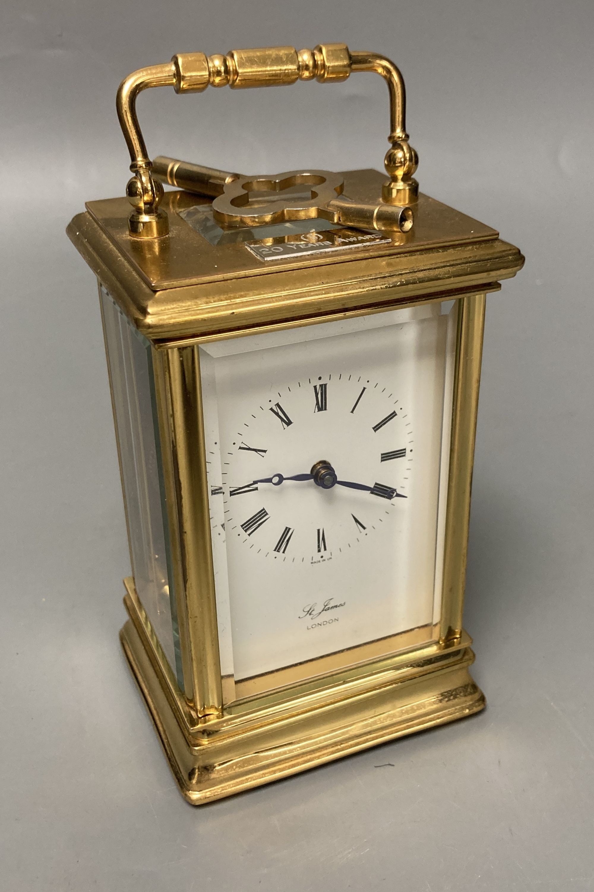 A modern French brass cased eight day presentation carriage timepiece