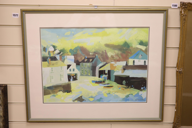 Richard Tuff (1965-), colour print, Fishing village, 38 x 53cm - Image 2 of 3