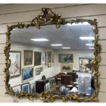 A 19th century rectangular and giltwood and gesso wall mirror, width 86cm, height 80cm