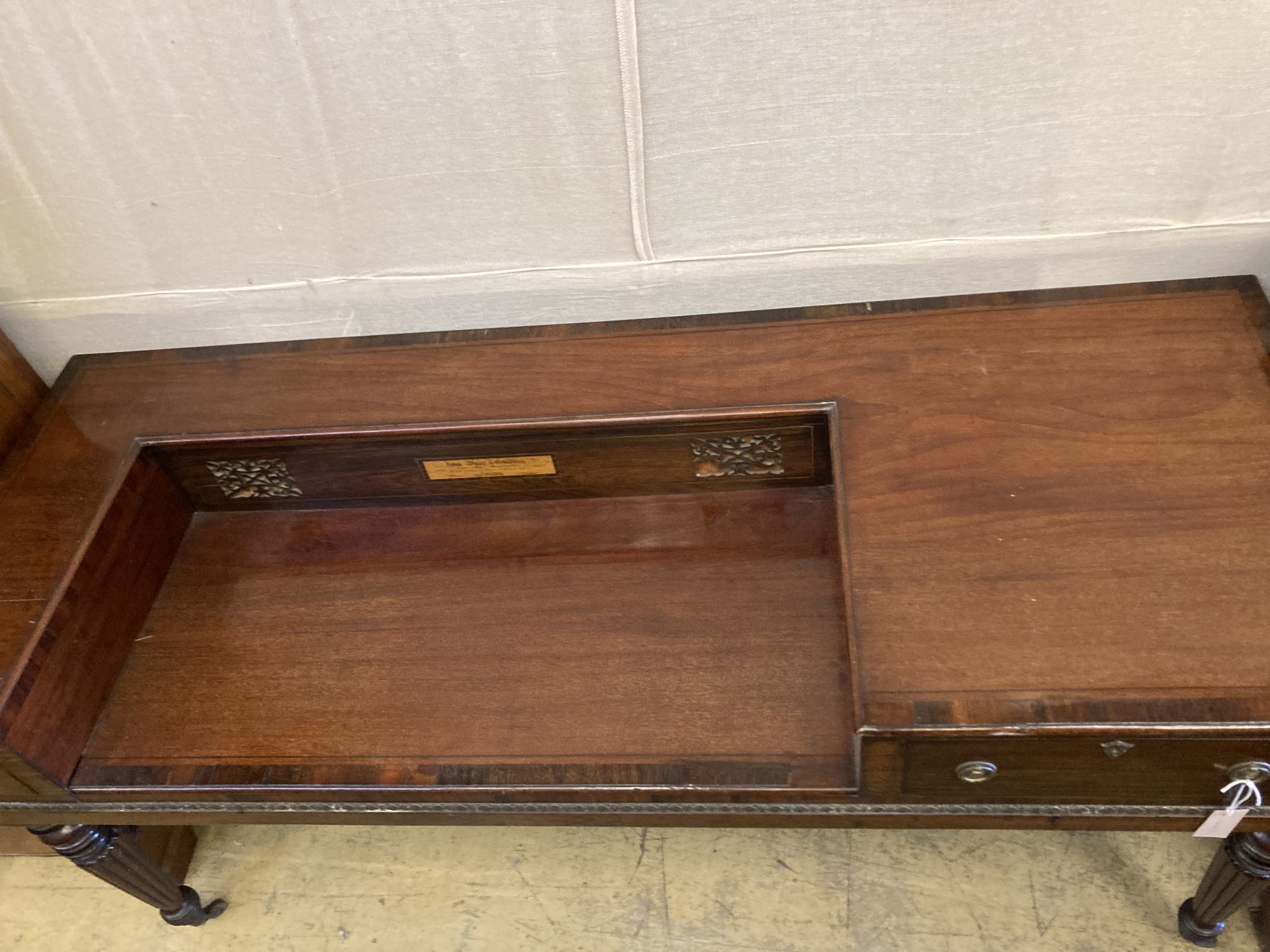 An early 19th century mahogany square piano converted to a desk, length 170cm, depth 64cm, height - Image 2 of 5