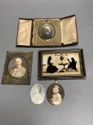 A collection of miniature portraits, including an early 19th century portrait of a young woman,