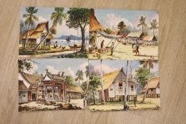 Four unframed Malaysian watercolours, signed Chuan & Poh, 27 x 37cm.