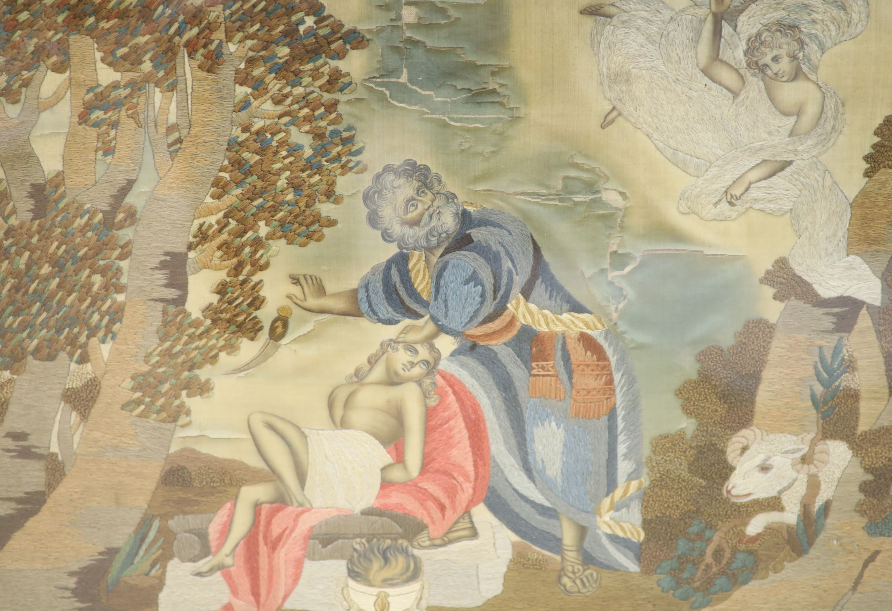 An early 19th century silkwork of Abraham and Isaac (a.f.), width 48cm, height 34cm