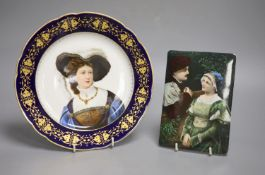 A 19th century Berlin style porcelain plaque and a plate, diameter 24cmCONDITION: Plate - hairline