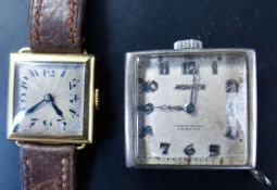 A 1920's lady's 18ct gold square dial manual wind wrist watch, 21mm, gross 14.8 grams and a white