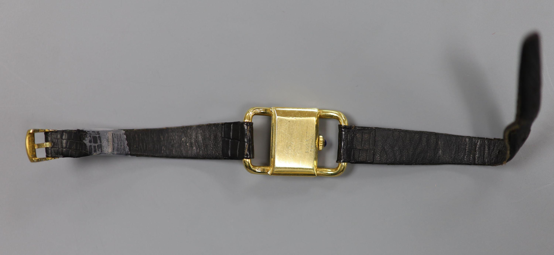 A lady's modern 750 yellow metal Baume & Mercier manual wind rectangular dress wrist watch, on a - Image 3 of 3