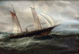 A Victorian oil on canvas of a steam and sail ship at sea, signed, 28 x 41cm