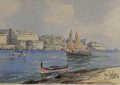 Joseph Galea, watercolour, Valetta from Senglia Point, Malta, signed, 13 x 19cm