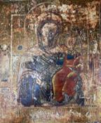 Russian School, tempera on panel, Icon of the Virgin and Child, 31 x 26cm
