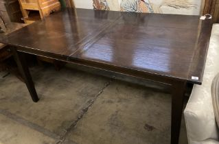A 19th century style French rectangular walnut extending dining table, 220cm extended width 100cm