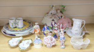 A group of Continental porcelain figures and groups, largest 20cm high and various plates, dishes