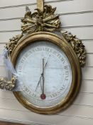 A 19th century French carved giltwood barometer / thermometer, width 68cm, height 92cm