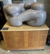 ARR Polly Ionides (born 1944) Triune, An abstract figural carved limestone group, width 106cm,