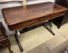 A Victorian mahogany side table with cast iron underframe, width 130cm, depth 60cm, height 80cm