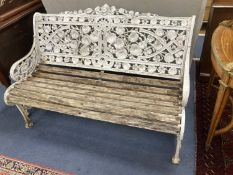 A Coalbrookdale style cast metal Nasturtium pattern garden bench, length 128cm, depth 65cm, height