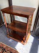 A Victorian rosewood three tier whatnot, width 61cm, depth 46cm, height 84cm