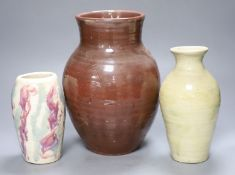 James Walford (1913-2003). An incised red glazed vase and two others, impressed marks, tallest 28cm