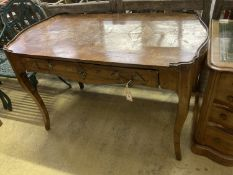 A Louis XV kingwood veneered side table, fitted one long drawer (requiring restoration), width