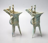 Two Chinese bronze archaistic tripod vessels, height 19cm