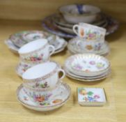 A group of Dresden tea wares and plates, a cloisonne enamel bowl , Cantonese and Imari dishes etc.