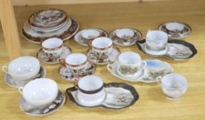A group of Japanese ceramic teawares and plates, Meiji