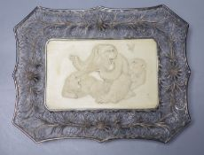 A Japanese Meiji period ivory and white metal filigree work 'monkey' tray, engraved two character
